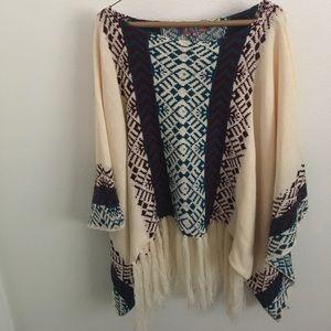 Sweaters - Oversized tribal poncho size medium!